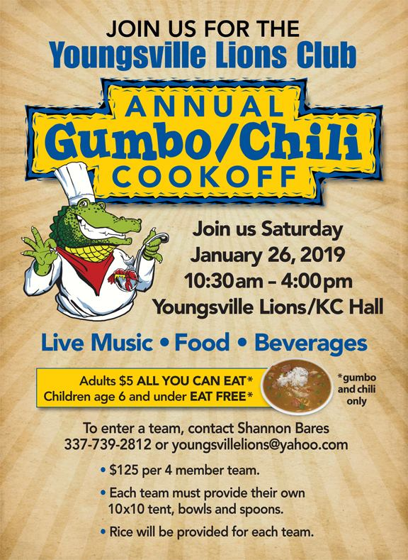 Youngsville Lions Club Annual Gumbo/Chili Cookoff @ Youngsville Lions Club