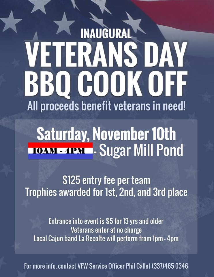 Inaugural Veterans Day BBQ Cookoff @ Sugar Mill Pond | Youngsville | Louisiana | United States
