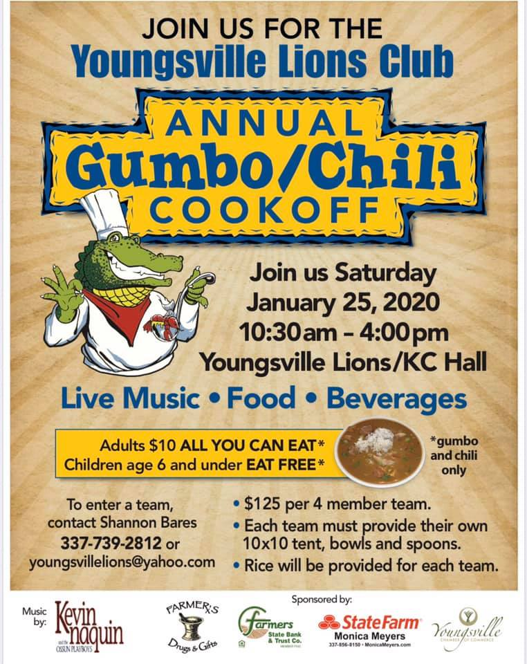 Lions Club Gumbo/Chili Cookoff @ Youngsville Lions/KC Hall   Youngsville   Louisiana   United States