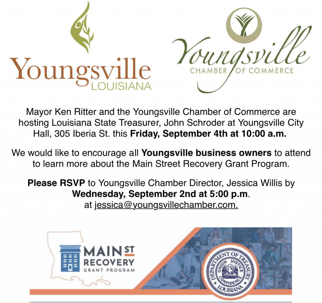 Louisiana Main St. Recovery Grant Program @ Youngsville City Hall | Youngsville | Louisiana | United States